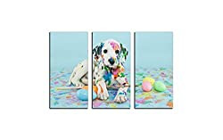 Easter Dalmatian Puppy Pastel Colorful Eggs Picture Print On Canvas Giclee Artwork For Wall Decor