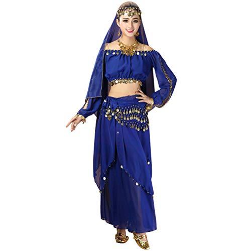 4pcs / set Trajes de danza del vientre de las mujeres Baile indio Ropa de rendimiento Falda superior Cintura Cadena Traje de velo de cabeza (Royalblue)
