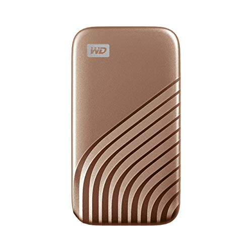WD My Passport SSD 500 GB externe SSD (externe Festplatte mit SSD Technologie, NVMe-Technologie, USB-C und USB 3.2 Gen-2 kompatibel, Lesen 1050 MB/s, Schreiben 1000 MB/s) gold