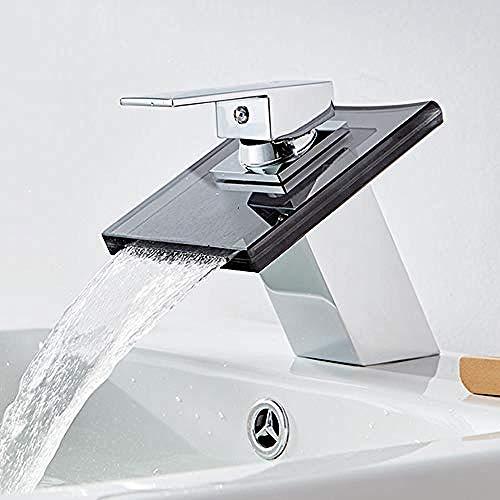 Europäische Glasbadewanne des Messinghaushalts füllte Wasserfallhahnbadezimmer-Toilettenwaschbecken-Heiß- und Kaltwasserhähne
