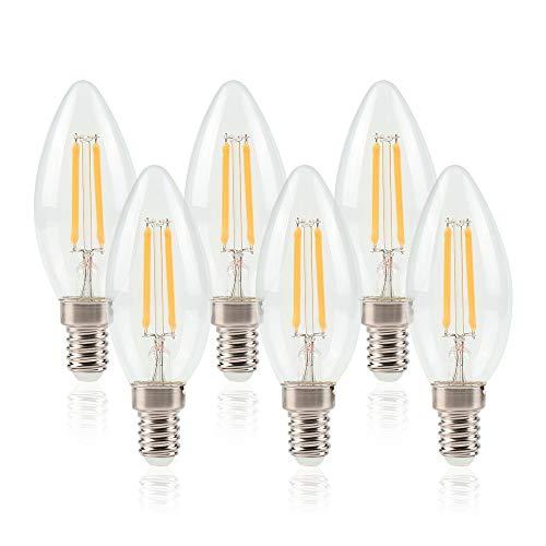ELINKUME 6pcs LED Kerzenlampe 6W ersetzt 50W, E14, Warmweiß 2700K, 440 Lumen, Kerze, E14 Fassung und 4 Docht