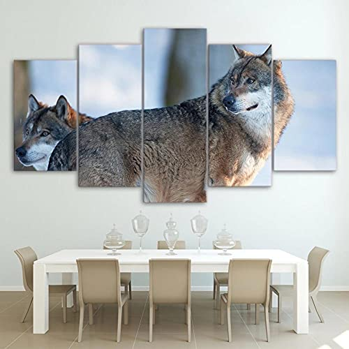 ZHONGZHONG Cuadro En Lienzo 5 Piezas Lobo De Pareja De Animales De Impresión HD Pinturas sobre Lienzo Arte De Pared para Decoración del Hogar Decoración De Pared Cuadro De Pared