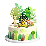 Unimall 3Pcs Jungle Animal Cake Topper, Animals Figures, Cute Tiger Fox Deer Cupcake Topper, Polymer Clay, Prizes, Stocking Stuffers, Miniature Toys, Cake Decorations , Woodland Creatures Figurines