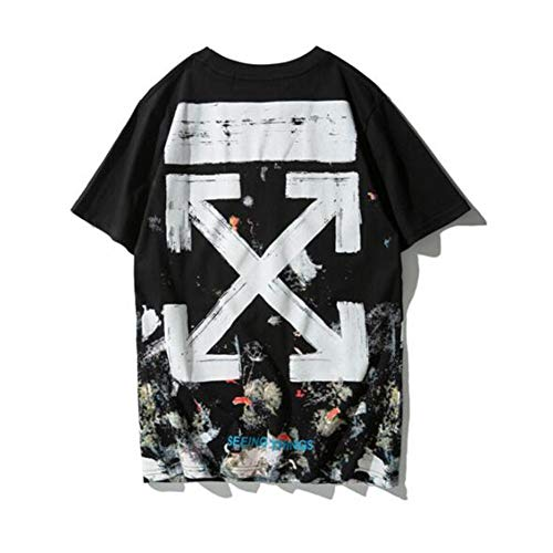 mich Off OW White Fashion Brand Starry Fireworks arroff OW White Casual T-Shirt Men/Women Couple