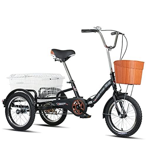 Damen Fahrrad Mit Korb Dreirad Für Erwachsene 3 Rad Doppelbremse Für Erwachsene Adult Tricycle Comfort Outdoor Sports City Urban (Color : Black)