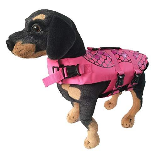 MISSMAO Hunde Life Jacket Hunde Warnweste Hunde-Schwimmweste Schwimmhilfe Float Coat Life Preserver Rosa M