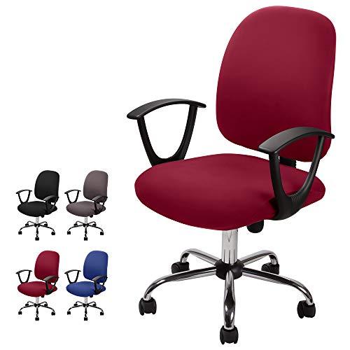 Computer ufficio sedia della copertura coprisedia elasticizzato rimovibile Copertina Cover da Sedile Coprisedia separato in stile semplice e moderno, per sedie da ufficio girevoli (Borgogna, 2)