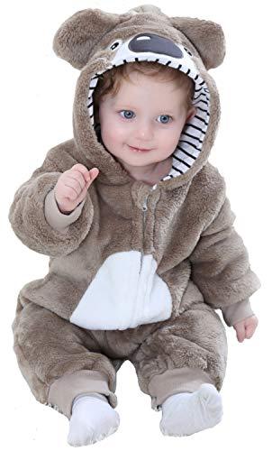 Katara 1778 Koala Baby-Kostüm Karneval, kuscheliger Jumpsuit/Onesie, Verschiedene Tiere & Größen, Pyjama-Qualität, braun
