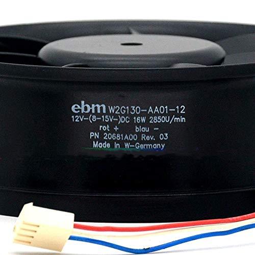 W2G130-AA01-12 12V ebmpapst 16W 1.33A 17055 3-Wire All Metal Fan