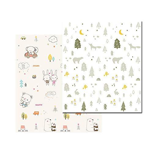 Moonvvin Krabbelmatte für Babys, faltbar, doppelseitig, wasserfest, für Kinder, Spielmatte, Gymnastikmatte, ca. 200 x 150 cm, extra groß