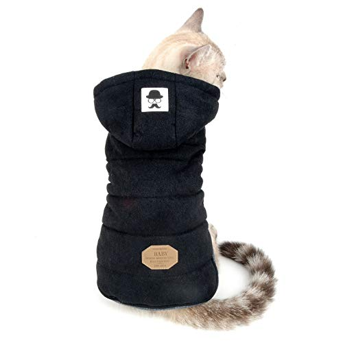 SELMAI Fleece Dog Hoodie Winter Coat for Small Boy Dog Cat Puppy Cotton Hooded Jacket Chihuahua Clothes Girl Boy Yorkie Pet Walking Outdoor Black L