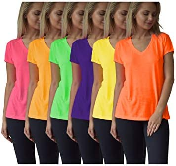 Women s Everyday Flowy Slub Burnout Active Casual Workout V Neck T Shirt Tops 6 Pack 6 PK Neon product image