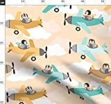Flugzeug, Pinguin, Tiere, Baby, Pilot Stoffe - Individuell