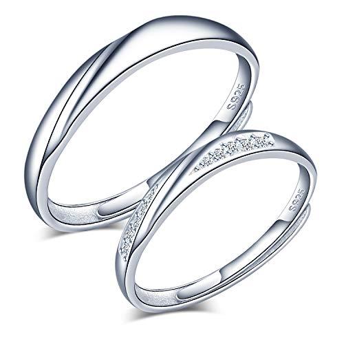 CPSLOVE Anillo de plata 925 para pareja, anillos de boda de onda, Incrustaciones Circón, tamaño ajustable, Anillo de compromiso