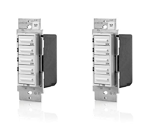Leviton LTB60-1LZ Decora 1800W Incandescent/20A Resistive-Inductive 1HP Preset 10-20-30-60 Minute Countdown Timer Switch, White/Ivory/Light Almond faceplates Included - 2 Pack