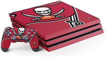 Skinit Decal Gaming Skin Compatible with PS4 Pro Console and Controller Bundle - Officially Licensed NFL Tampa Bay Buccaneers Large Logo Design