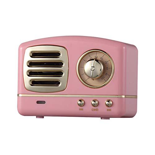 Retro Bluetooth Lautsprecher, Vintage Radio Stil Retro Bluetooth Lautsprecher, klassischem Stil Bluetooth Musikbox Kabelloser Speaker Laute Lautstärke,Bluetooth 4.2, MP3-Player(Pink)