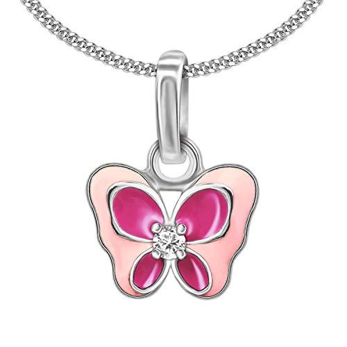 Clever Schmuck Set zilveren kleine hanger vlinder 10 x 8 mm vleugel roze vleugel gelakt met witte zirkonia en schakelketting 38 cm sterling zilver 925
