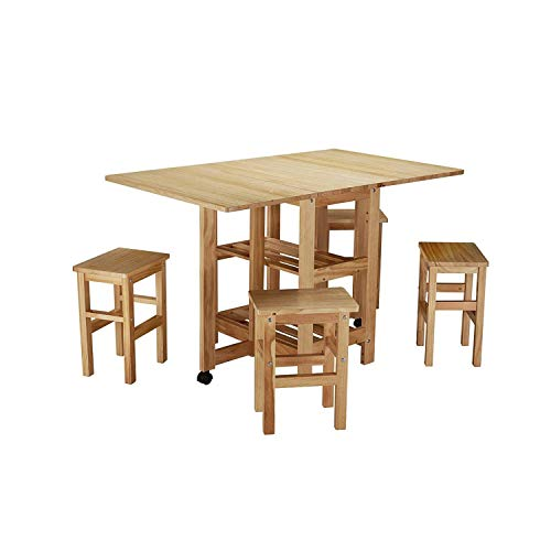 JIADUOBAO Dinner Snack 4 Table Set - Natural Folding Dining Table With Extend Four Chair Dining Room Sets Mobile Drop Leaf Dining Kitchen Table Folding Desk for Big Small Spaces