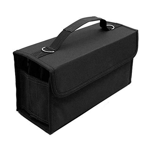 RETYLY 80 Ranuras De Gran Capacidad Pluma Rotatoria Pluma Estuche Marcadores De Arte Bolígrafo De Almacenamiento Bolsa De Transporte Durable Sketch Tools Organizador Negro