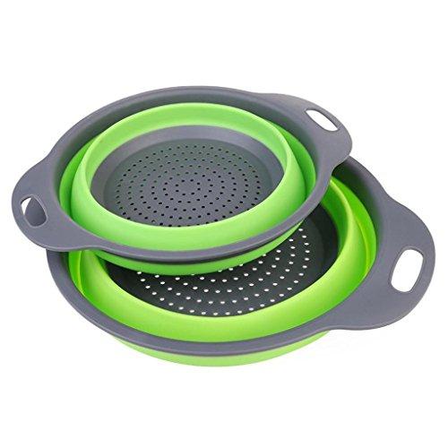 Hunpta Égouttoir en silicone pliable pour laver les fruits et légumes, avec poignées, Silicone, Green, L