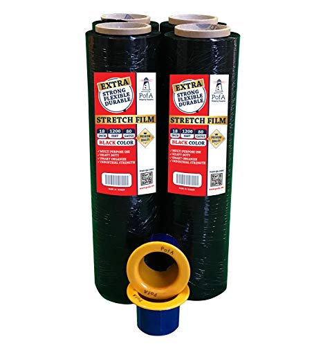 Stretch Film Plastic Wrap Roll - Black, 18 in x 1200 Ft x 80 Gauge (20 Micron), 4 Pack with 1 Pair Hand Saver, Industrial Heavy Duty Shrink Wrap for Packing, Shipping, Pallet, Moving Supplies by PofA