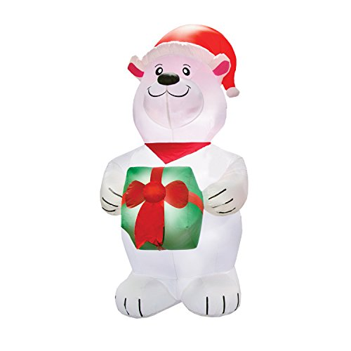 AIRFORMZ 7.5' Tall Polar Bear, LED Lights, Christmas Inflatables, Outdoor Decorations, Inflatable Yard Decoration