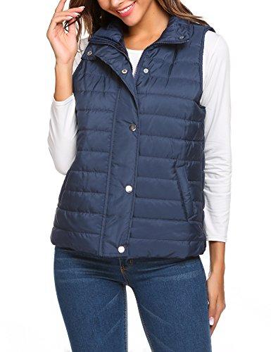 Beyove Women's Lightweight Down Quilted Packable Puffer Vest Jacket Navy Blue M