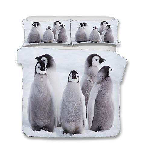 WENYA Animales 3D Pingüino Lindo Blanco Negro Gris Juego de Cama Funda Nórdica y Funda de Almohada Microfibra Niño Niña (Estilo 4, 220x260 cm - Cama 180 cm)