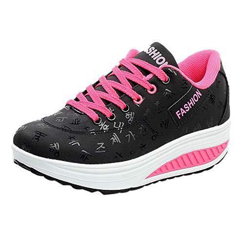 BaZhaHei Donna Scarpa Donna Sneaker Dimagrante Scarpe Passeggio Scarpe Ginnastica fitness Cunei Piattaforma Scarpe 37 Neroa