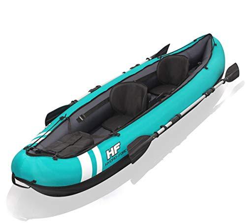 ZHBD Kayak Inflable De Balsa, Barco De Pesca Kayak, 1-2 Persona Barco Ruezas De Aluminio Carga Máxima 200Kg con Bomba De Aire Cojín Suave