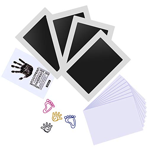 Large Size Baby Inkless Handprint and Footprint Kit with 4 Ink Pads and 8 Imprint Cards by PChero, Ideal for Family Keepsake Newborn Registry Baby Shower Present