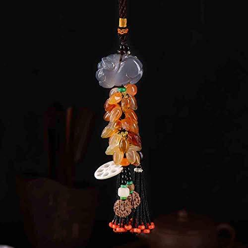 DERUKK-TY Decoración colgante china Feng Shui, Pi Yao/Pi Xiu, Dragón, Fu, Wu Lou/Hu Lu Jade Natural Adornos de la suerte para la riqueza y el éxito del coche, A