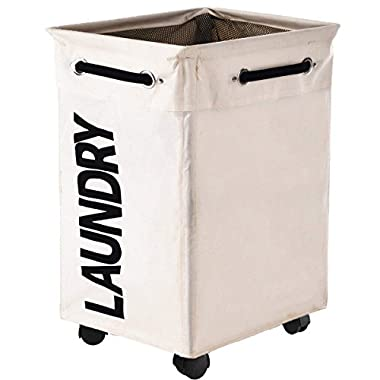 Huandry Collapsible Laundry Hamper with Wheels, Rolling Large Clothes Hamper Basket Stand with Storage Bin