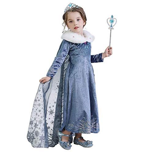 Disfraz de Princesa para Niñas de la Reina Elsa,Azul Nieve Reina Disfraz Cosplay Fantasía Fiesta…