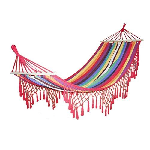 ZPEE Columpio Interior y Exterior Color Crudo de algodón Tejida de la Hamaca con Ganchillo Hecho a Mano de la Franja de Hamaca, Suave Tejido de la Tela de algodón Parque Infantil al Aire Libre