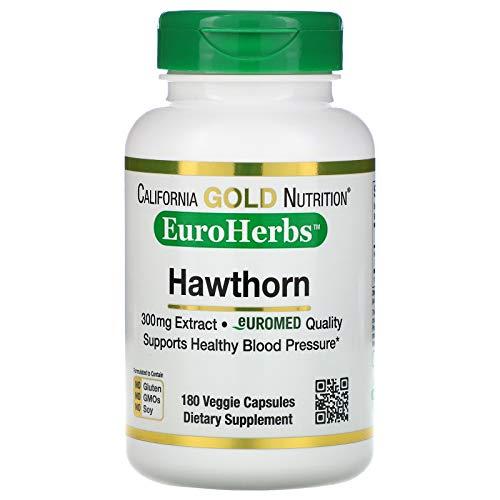 California Gold Nutrition Hawthorn Extract, EuroHerbs, European Quality, 300 mg, 180 Veggie Capsules