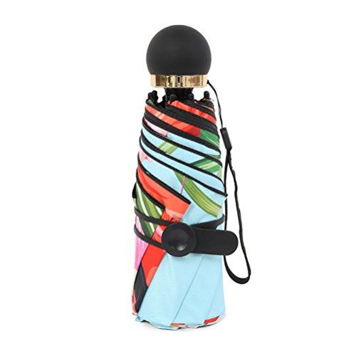 Guarda-chuva LIOOBO com 8 ossos, durável, preto, plástico, estampa flamingo, proteção solar, guarda-chuva UV para sol