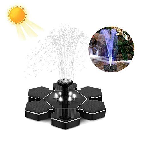 Zonnefontein voor Vogelbad met LED Nachtlamp, 2,4 W Zonnepaneel Waterpomp voor vijver Tuindecoratie, 4 Verschillende Spray Patroon Hoofden