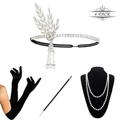 KQueenStar 1920s Damen Gatsby Kostüm Accessoires Set Halskette Handschuhe Zigarettenhalter 20er Jahre Stirnband Charleston Gatsby Retro Stil Kostüm Ball