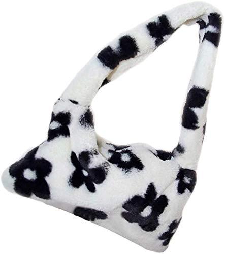 Plush Underarm Bag, Ladies Fluffy Shoulder Bag Plush Handbag for Women, Plush Animal Pattern Underarm Bag Top-Handle Handbag, Crossbody Trendy Bag, Flowers Plush Ladies Handbag