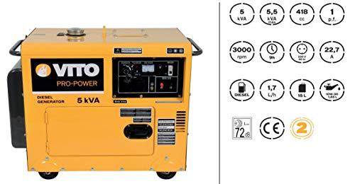 Groupe électrogène 5 KVA VITOPOWER 416 CM3 4000W Monophasé DIESEL Silencieux 14.5 litres