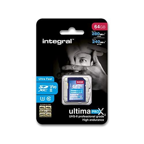 Integral UltimaPro Video Speed V90 64 GB 280/240 MB/s UHS-II X2 SDXC Memory...