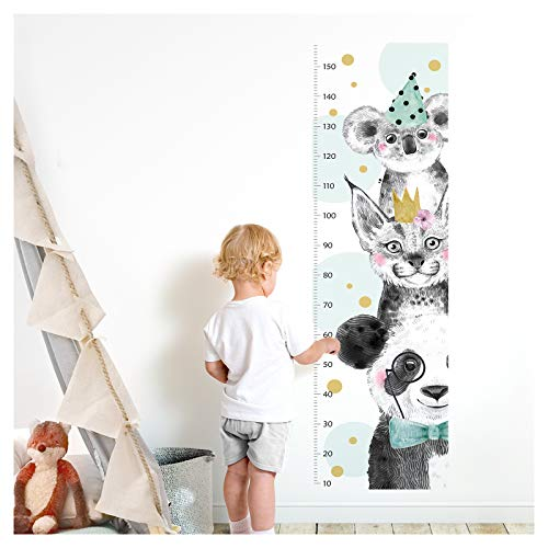Little Deco Wandtattoo Kinderzimmer Junge Messlatte | 150cm Panda Luchs Koala Türkis | Wandaufkleber Tiere Kinder Wandsticker Aufkleber Dekoration DL372