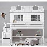 Alfred & Cie – Cama cabaña media altura 90 x 200 cm, color blanco