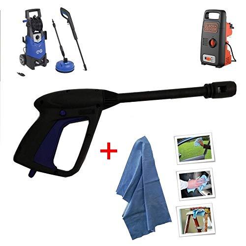 parpyon Pistola per Idropulitrice ANNOVI REVERBERI - AR Blue Clean - Black&Decker Attacco rapido per Tubo Acqua - Accessori ricambi idropulitrici + Omaggio Panno (AR41559)