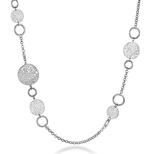 Collana lunga per donna, collana a catena albero della vita per bambina Collana in oro rosa o argento con cristallo (Placcato argento)
