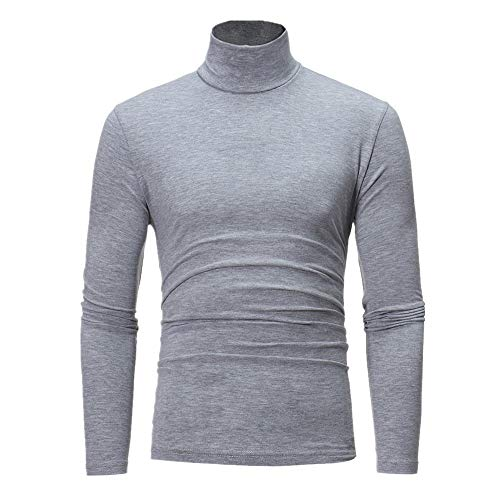 Men's Sweater High Round Neck Pullover Men Casual Solid Color Knit Jumper Long Sleeve T Shirts Mens Fashion Ribbing Sweaters Elegant Leisure Jumpers Tops L