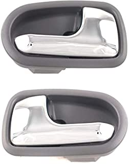 Passenger Side Inside Interior Inner Door Handle Beige Housing with Chrome Lever PT Auto Warehouse MA-2535ME-RH