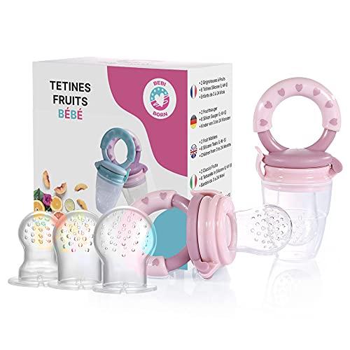 Tétine d'Alimentation pour Bébé - 2 Grignoteuse Bébé + 6 Tétines silicone (3 à 24 mois) sans BPA - Tétine Grignoteuse Bébé Bebi Born - Sucette Grignoteuse Bebe - Tetine Fruits Bebe - Cadeau Naissance